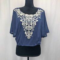 Dolled-Up by FANG Navy Blue Short Sleeve Crop Top - Size - Medium