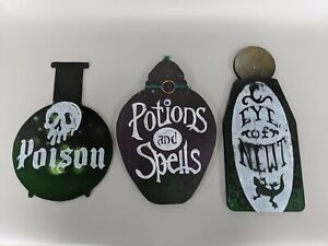 3x Potion spells poison bottles Signs wooden witch Harry Potter vintage style HW
