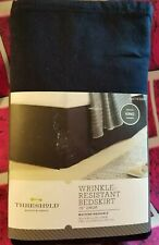 "THRESHOLD KING BED SKIRT DUST RUFFLE 15"" DROP NAVY KING BED BEDROOM WASHABLE NEW"