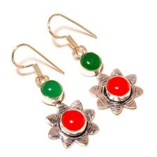 Green Onyx, Red Coral Gemstone silver plated Handmade Designer Dangle Earrings