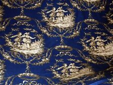 PLATINUM TOILE FABRIC ~ DARK BLUE and BEIGE ~  UPHOLSTERY / DRAPERY *BTY