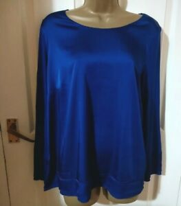 Punt Roma Size 16 Long Sleeve Blue Top