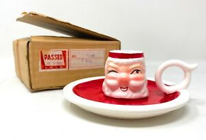 Vintage Holt Howard Santa Claus Candle Holder 1958 Christmas Japan With Box