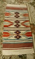 Antique Vtg Navajo WOOL   Rug  Native American Indian  57''x25''