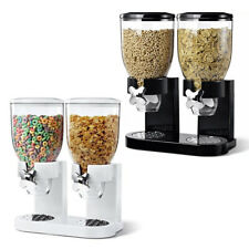 Double Cereal Dispenser Machine Dry Food Pasta Storage Container Black OR White