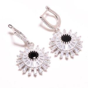 "Brazilian Black Onyx & White Topaz 925 Sterling Silver Earring 1.56"" S2715"