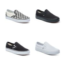 New Authentic Vans Slip On Shoes Classic Black White Canvas Sneakers All Sizes