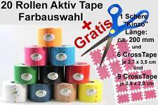 20 Rollen Aktiv Tape 5 cm x 5 m | +Schere+6+9 Cross-Tape Gratis | Kinesiolologie