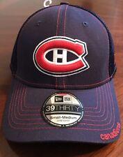 NEW ERA MONTREAL CANADIENS 39THIRTY HAT BLUE BASEBALL EMBROIDERED Small-Medium