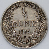 1914 J | German East Africa 1/4 Rupee | Silver | Coins | KM Coins