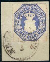 Mecklenburg-Strelitz,Briefstück Mi.-Nr.5o, Neustrelitz  21,5mm, geprüft Dienna,