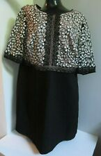 MONSOON BLACK FLORAL PINK WHITE EMBROIDERED LACE OVERLAY LINED OCCASION DRESS 20