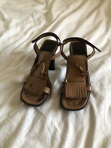 Vintage Prada 1999 90s Y2k Tan Brown Leather Platform Heels Uk4.5