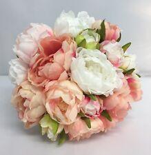 PEONIES VINTAGE BOUQUET BRIDESMAID BROOCH WEDDING FLOWERS PINK PEACH WHITE SILK