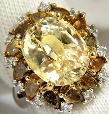 GIA 12.68CT NATURAL NO HEAT FANCY YELLOW SAPPHIRE DIAMONDS CLUSTER RING 18KT+