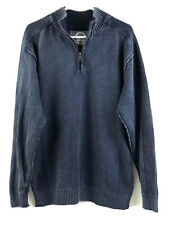 Bke Sweater Mens Large Navy Blue 1/4 Zip Pullover Athletic Fit Cotton Knit Euc