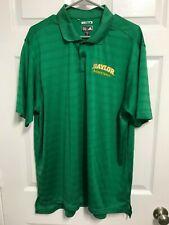 BAYLOR BEARS Basketball Men Green ClimaCool Short Sleeve Polo Shirt XL Adidas