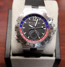 Bulgari BVLGARI DIAGONO GMT40S Stainless Steel Watch, Blue & Red