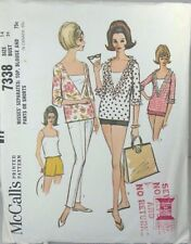 McCalls 7338 Sewing Pattern Low Cut Blouse Pants Shorts Beach Wear SZ 14 Bst 34