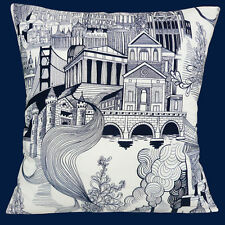 "City Buildings and Smoke Stack Cushion Cover 16""x16"" 40cm Alexander Henry Cotton"