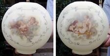 """10"""" CHERUBS / ANGEL BALL SHADE 4"""" fitter glass for old oil,banquet, GWTW lamp"""