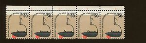 Major Color Shift Top Strip of 5 US Stamps #1608 Plymouth Colony Betty Iron Lamp