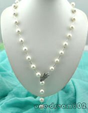 "Real 30"" 14mm round white Edison reborn keshi pearl necklace"