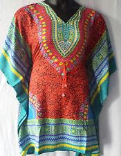 Women Dashiki Print Poncho Top Shirt loose Blouse Draw string Free Size Red