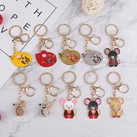 Lucky Zodiac Mouse Keychain Crystal Enamel Handbag Keyring Charms Rat Jewe_AU