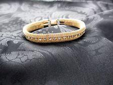 Vintage Kramer of New York Mesh and Rhinestone Bracelet Goldtone * Free Ship! *