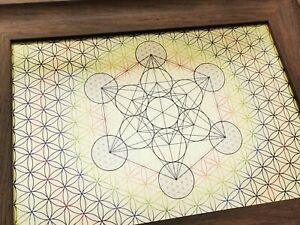 Metatron Cube & Flower of Life - Sacred Geometry Art Design EXCLUSIVE Framed