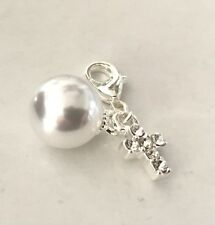 LOVELY ROUND PEARL WITH CLEAR RHINESTONE CROSS CLIP-ON CHARM- SILVER PLATE- NEW