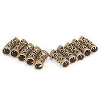 10 PCS Hair Braid Beads Dreadlock Bead Cuff Clip Metal Hair Braid Ring Silver HC