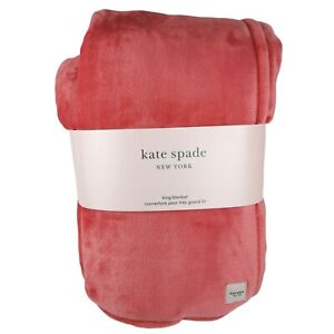 KATE SPADE King Oversized Bright Coral Pink Orange Plush Fleece Blanket