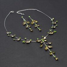 Schmuckset Collier Ohrringe Grün Blumen Schmetterling Muster Halskette Sommer
