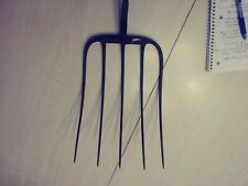 "Vintage 5 Prong Hay Pitch Fork Head Only Steampunk Farm 15.25"" long metal"