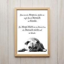 Wandbild Mops Spruch Kunstdruck A4 Hund Zitat Haustier Deko Poster Geschenk