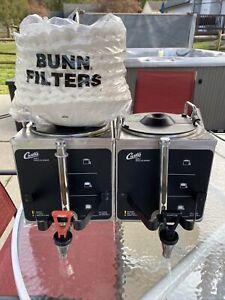 2 Curtis GEM-3 1.5 Gallon Coffee Satellite Servers Decaf & Regular +Bunn Filters