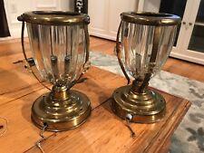 Crystal Pair Table Lamps Antique Brass Vintage Diningroom Bathroom Bedroom Light
