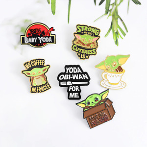 No Coffee ,No Forcee! Baby Yoda Enamel pin Strong Cuteness Lapel Pin Cartoon jew