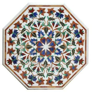 21 Inches Marble Side Table Top with Pietra Dura Art Coffee Table for Balcony