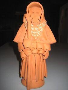 "Creepy Grim Reaper Redware Pottery Figural Statue Signed Ekupos FWYW 8 1/2""leper"