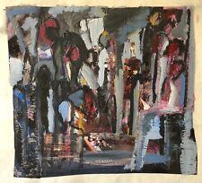 Art contemporain grande gouache et collage fin du XXe  46,5 cm par 43 cm