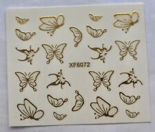 Gold 3D Butterfly Nail Art Stickers Decoration