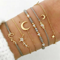 Fashion Women 6Pcs Crystal Moon Star Adjustable Gold Chain Bracelet Set Jewelry