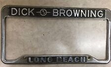Rare Dick Browning Long Beach Dealership License plate Frame Auto Chrome Metal