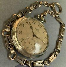 Baume & Mercier orologio taschino pocket watch open face + catena chain