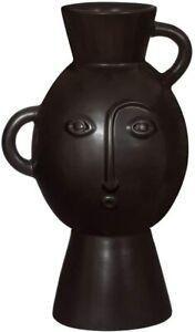 Sass & Belle Amira Face Vase With Handles Matt Black Flower Holder Nomad Tribal