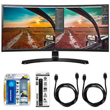 LG 34UC88 Curved UltraWide IPS Monitor w/ Accessory Hook up Bundle