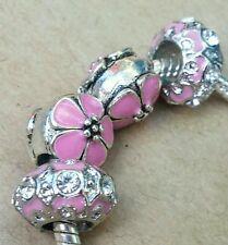 Summer Pink Cherry Blossom Flowers CZ Rhinestone Enamel European Bead Charm Set